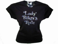 Lady Bikers Rule Swarovski Crystal Rhinestone Motorcycle Biker T Shirt Top