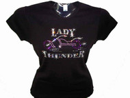 Lady Thunder Biker Swarovski Crystal Rhinestone Motorcycle T Shirt Top