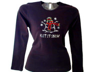 Let It Snow Christmas Holiday Winter Swarovski Crystal Rhinestone T Shirt