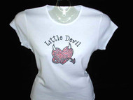 Little Devil Heart Swarovski Crystal Rhinestone T Shirt