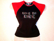 Live To Ride Swarovski Crystal Rhinestone T Shirt