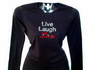 Live Laugh Love Swarovski Crystal Rhinestone Studded T Shirt