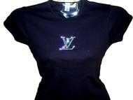 Louis Vuitton Inspired Swarovski Crystal Rhinestone T Shirt