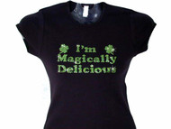 I'm Magically Delicious Shamrock Swarovski Rhinestone Bling T Shirt