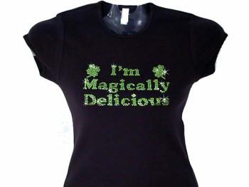 I'm Magically Delicious Shamrock Swarovski Rhinestone Bling T Shirt