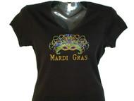 Mardi Gras Mask Swarosvki Rhinestone Bling T shirt