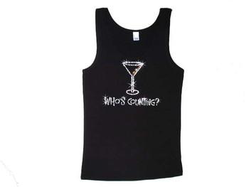Who's Counting? Martini Cocktail Swarovski Crystal Rhinestone Tank Top