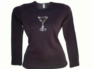 Martini Glass Swarovski Crystal Rhinestone Bling T Shirt