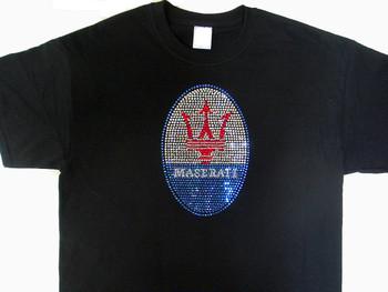Maserati Logo Swarovski Crystal Rhinestone T Shirt