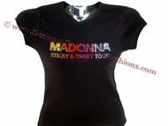 Madonna Sticky & Sweet Concert Tour Swarovski Crystal Rhinestone Tee Shirt