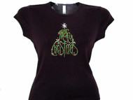 Merry Christmas Tree Swarovski Crystal Rhinestone T Shirt
