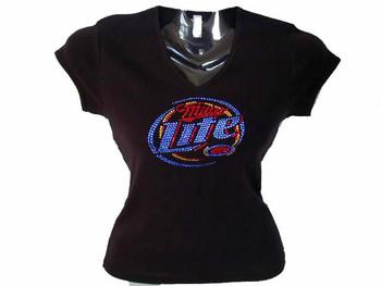 Miller Lite Bling Rhinestone T Shirt