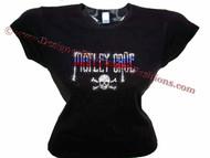 Motley Crue Swarovski Crystal Ladies T Shirt Top