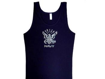 U.S. Navy Logo Eagle Bling Swarovski Rhinestone Tank Top T Shirt