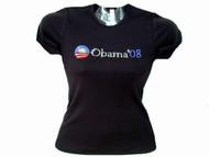 Barack Obama 2012 Presidential Campaign Swarovski Crystal Rhinestone T Shirt