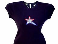 Patriotic Star Swarovski rhinestone tee shirt