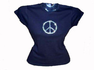 Peace sign symbol sparkly rhinestone t shirt