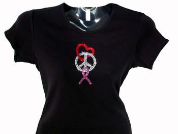 Peace Love Pink Ribbon Swarovski Rhinestone Bling T Shirt