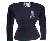 Pink Ribbon Swarovski Rhinestone Bling T Shirt