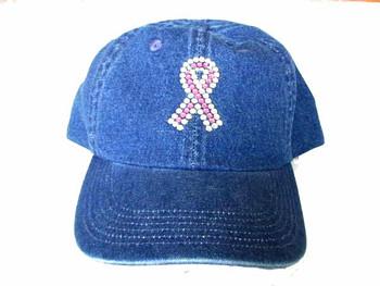Pink Ribbon Swarovski Rhinestone Cap / Hat