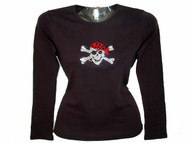 Gasparilla Skull and Crossbones Pirate Swarovski Rhinestone Tee Shirt