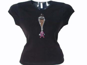 Pink Ribbon Breast Cancer Champagne Glass Swarovski Rhinestone T Shirt