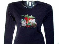 Christmas Presents Bling Swarovski Rhinestone T Shirt