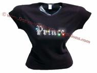 Prince Swarovski Crystal Rhinestone T Shirt Top