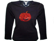 Halloween Pumpkin Jack-O-Lantern Rhinestone T Shirt