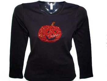 Halloween Pumpkin Jack-O-Lantern Rhinestone T Shirt