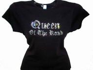 Queen Of The Road Swarovski Crystal Rhinestone Motorcycle Biker T Shirt Top