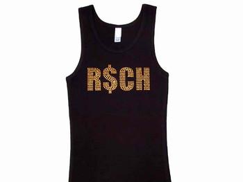 Rich Bitch Swarovski Crystal Rhinestone Tank Top T Shirt