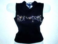 Ride With Pride Swarovski Crystal Rhinestone Tank Top T shirt for Harley riders