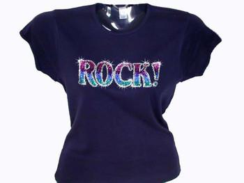 Rock! Swarovski Crystal Rhinestone T Shirt