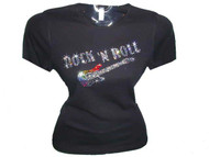 Rock 'N Roll Guitar Rhinestone T Shirt