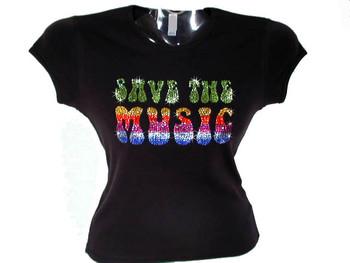 Save The Music Swarovski Crystal Rhinestone T Shirt