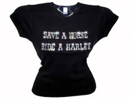 Save A Horse Ride A Harley Sparkly Rhinestone Ladies Tee Shirt