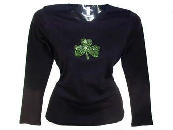 Shamrock Rhinestone T Shirt For St. Patrick's Day