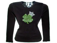 St. Patrick's Day Shamrock Crown Rhinestone Bling T Shirt