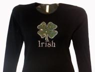 Irish Shamrock Swarovski crystal shirt