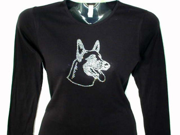 German Shepherd Dog Swarovski Rhinestone T Shirt