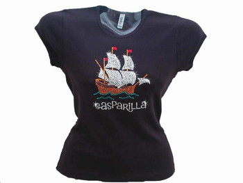 Gasparilla Pirate Ship Swarosvki Rhinestone Bling T Shirt