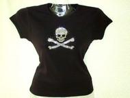 Halloween Skull and Crossbones Swarovski Crystal Rhinestone T Shirt
