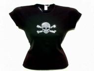 Halloween Skull & Crossbones Pirate Swarovski Crystal Rhinestone T Shirt