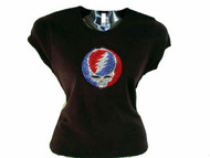 Skull & Lightning Bolt Swarovski Crystal Rhinestone Studded T Shirt