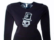 Skull & Top Hat Bling Rhinestone T Shirt