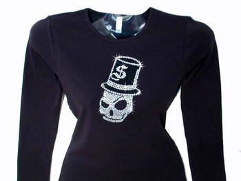 Skull & Top Hat Bling Rhinestone T Shirt