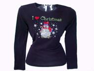 I Love Christmas Snowman Swarovski Crystal Rhinestone T Shirt