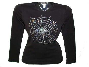 Spider Web Halloween Swarovski Crystal Rhinestone T Shirt