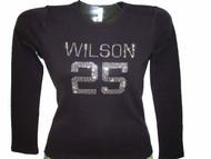 Rhinestone Football Jersey T Shirt made with Swarovski crystals